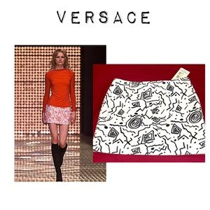 NWT Versace Runway White Leather Abstract Skirt